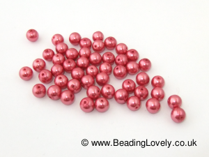 B-P-04 - Glass Pearled - Pink 8mm