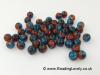 B-C-17 - Crackle Bead - Cobalt Blue/Fire Red 8mm